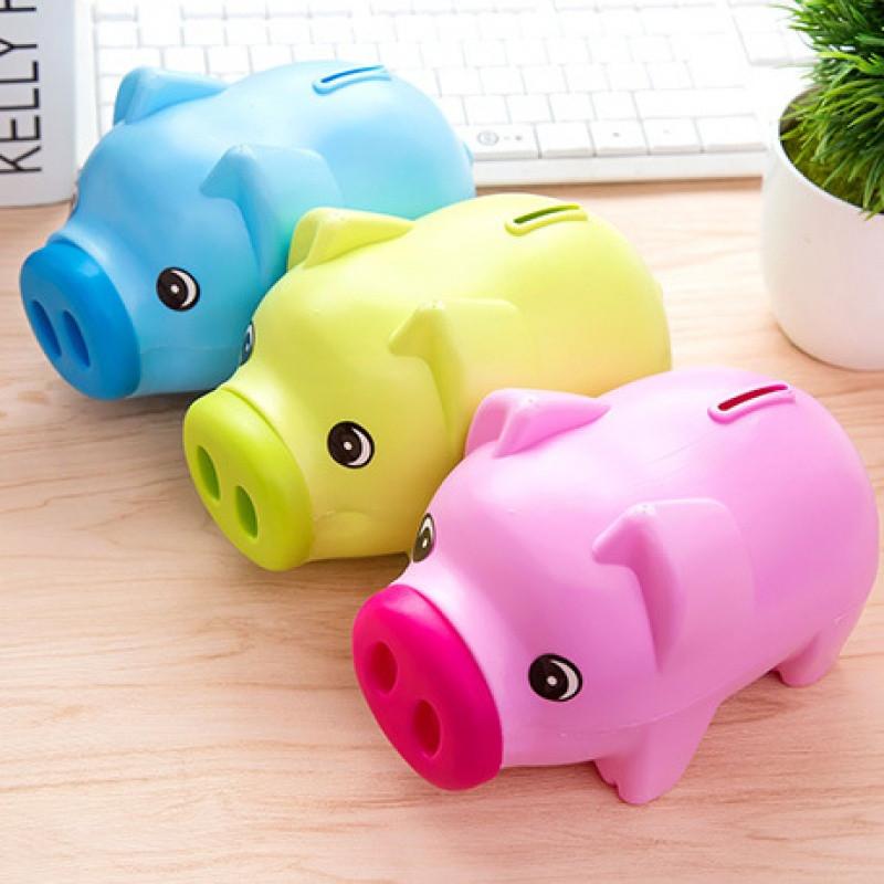 卡通储蓄罐小猪存钱罐塑料储钱罐纸硬币创意可爱儿童情侣礼物