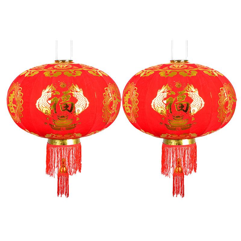 2018年绒布红灯笼福字喜庆节日过年装饰多规格大红灯笼