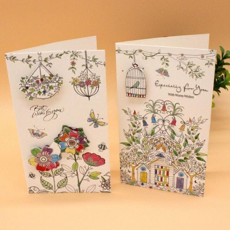 新年创意儿童贺卡 秘密花园涂鸦立体图案可爱卡片 一套8张
