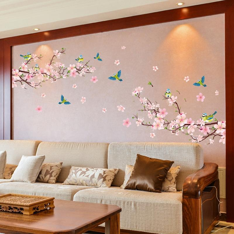 客厅装饰中国风电视背景墙贴画年画墙纸自粘卧室沙发墙壁贴纸桃花