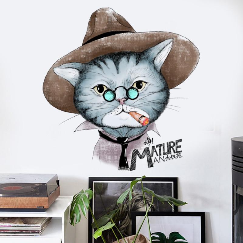 创意手绘猫咪墙贴纸时尚店铺餐厅装饰品客厅卧室北欧风贴画