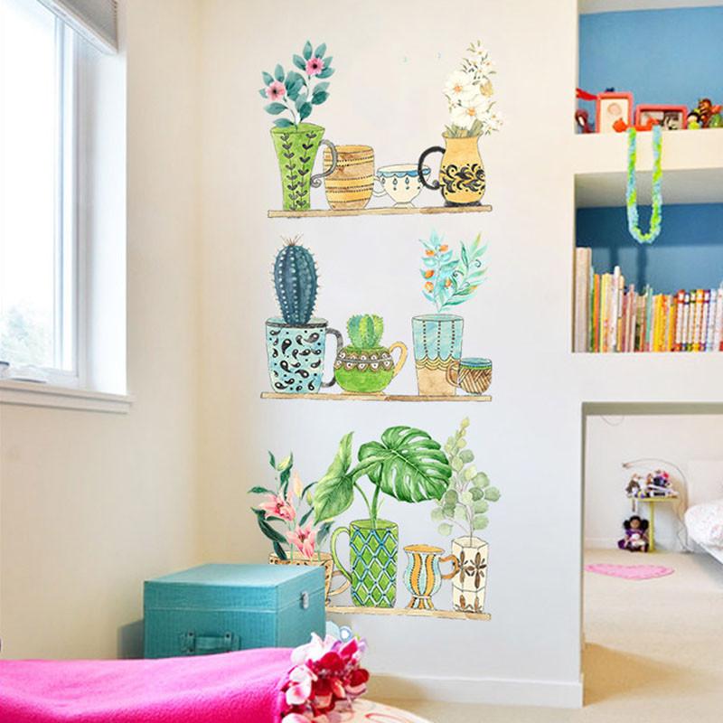 墙贴 风贴纸清新手绘盆栽植物宿舍装饰客厅卧室布置可图片