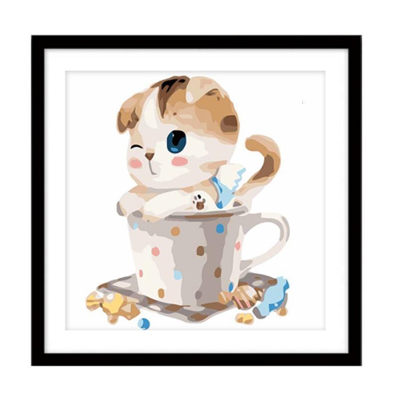 diy数字油画动漫卡通动物大幅手绘油彩装饰画茶杯猫