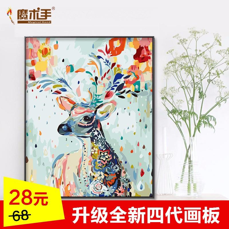 diy数字油画客厅风景花卉动物油彩手工填色鹿手绘装饰