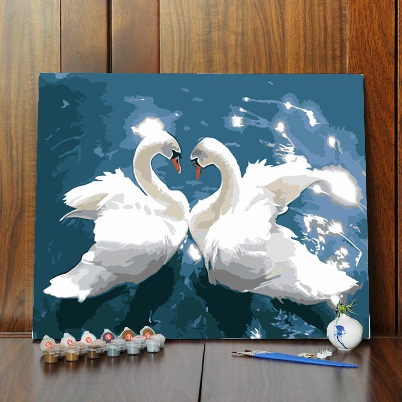 diy数字油画填色油彩手绘手绘水彩动物手工风景装饰儿童成人