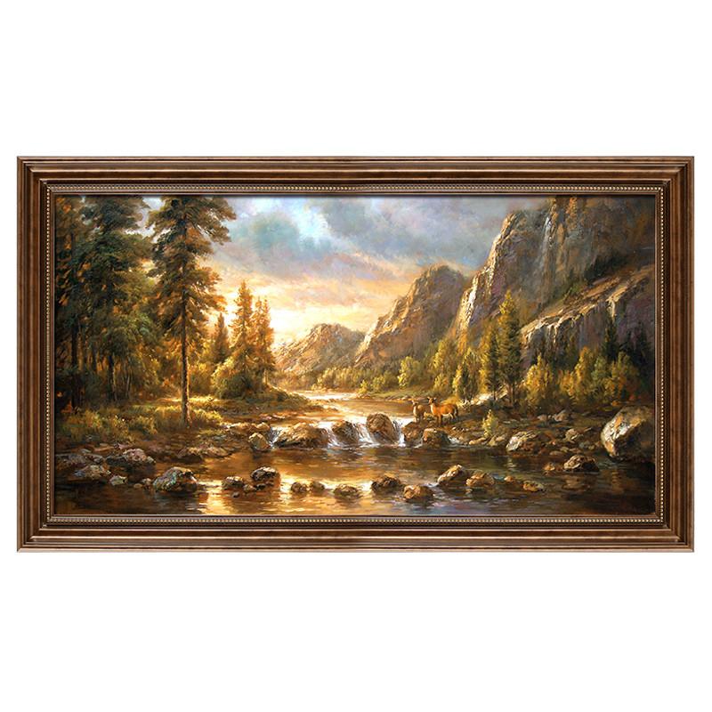 客厅装饰画 欧式风景卧室挂墙壁沙发背景有框壁画 手绘油画
