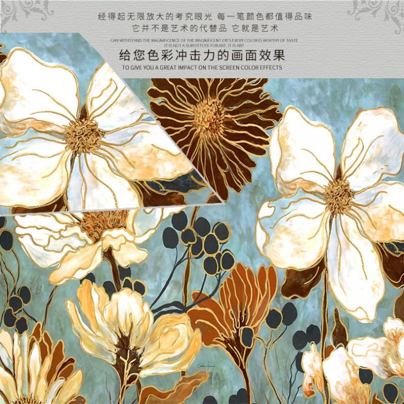 客厅装饰画美式乡村沙发背景三联画简美植物花卉墙画欧式家居油画图片