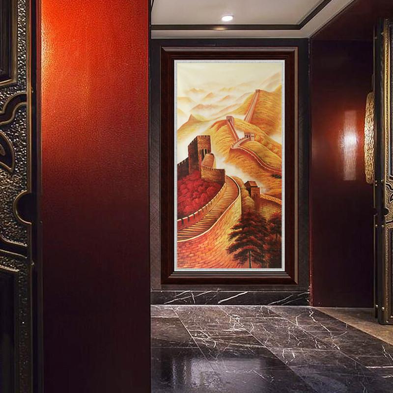 新中式纯手绘油画万里长城风景画办公室会议室客厅龙抬头大幅挂画