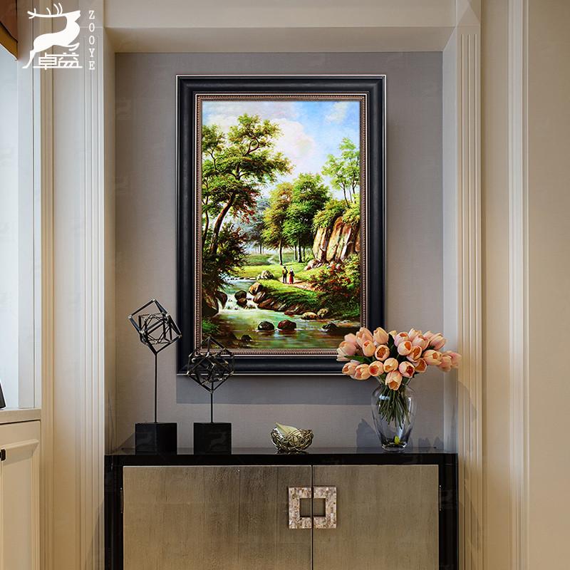 欧式入户玄关山水风景装饰画过道走廊油画招财风水寓意家居墙画