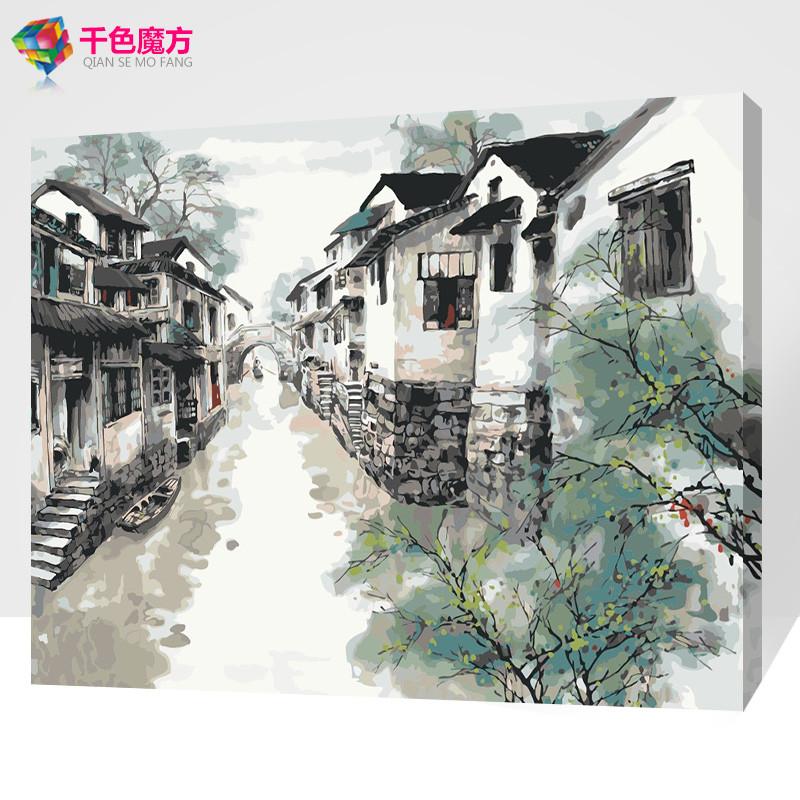 diy数字油画水墨画diy 手绘风景客厅卧室装饰画 国画水乡