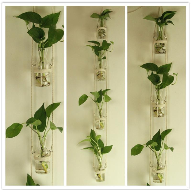 创意diy壁挂玻璃水培植物麻绳花瓶 家居幼儿园墙面装饰挂件zakka图片