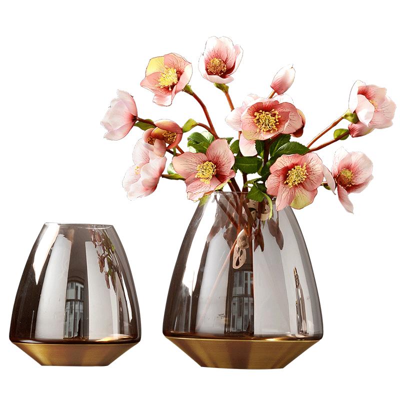 北欧透明玻璃花瓶欧式创意装饰品客厅插花干花器摆件设图片