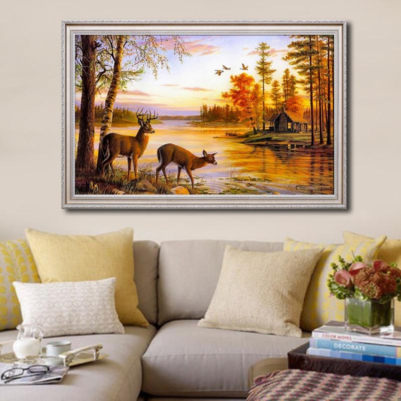 手绘欧式风景油画玄关客厅沙发背景墙装饰画风水麋鹿招财餐厅挂画