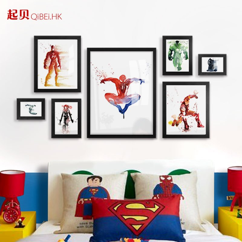 漫威装饰画卡通照片墙儿童房卧室床头水彩挂画组合相框墙