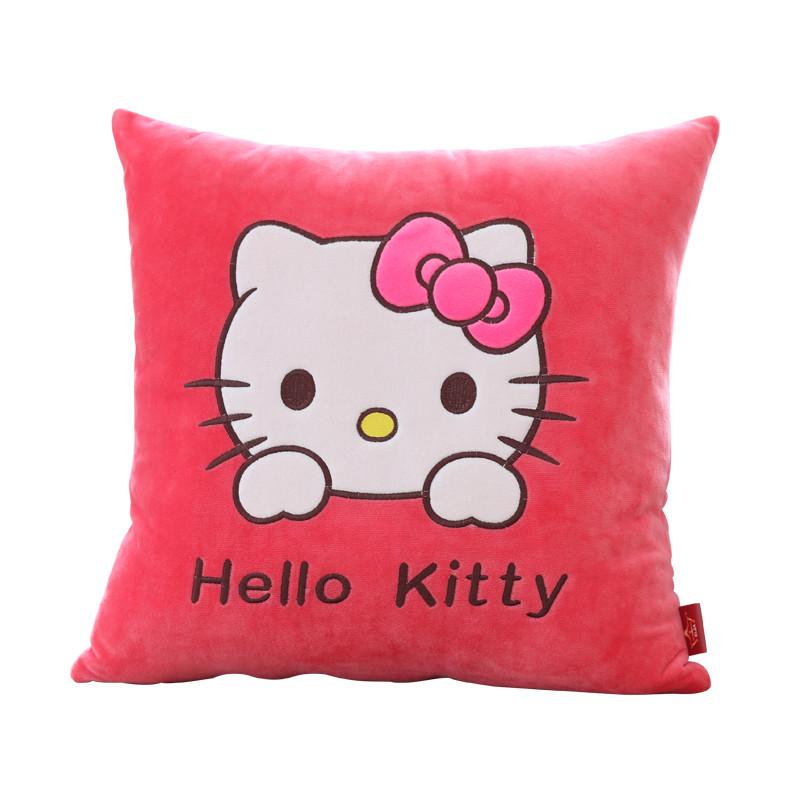 可爱卡通客厅家用沙发抱枕靠垫汽车办公室正方形毛绒抱枕套不含芯