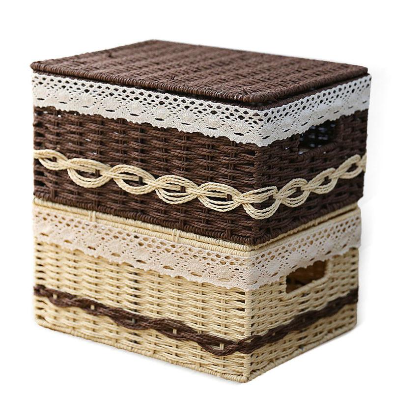 日系编织桌面收纳箱收纳盒草编衣服零食收纳筐储物盒杂物整理盒子