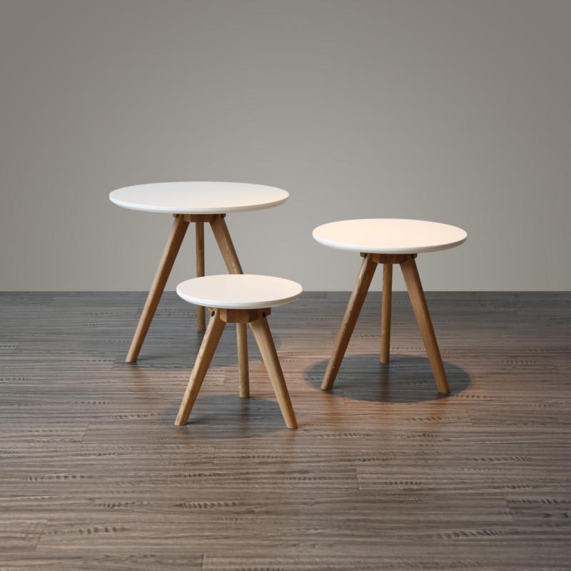 北欧户型客厅圆形迷你小茶几组合日式实木橡木简约沙发小圆桌
