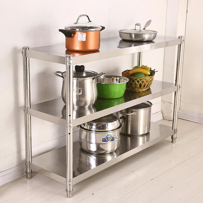 厨房用品3层置物架实用落地多层收纳架子不锈钢三层家用微波炉架图片