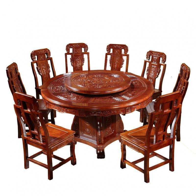 全实木中式圆形餐桌椅组合古典餐桌饭桌雕花圆桌橡木象头仿古餐桌