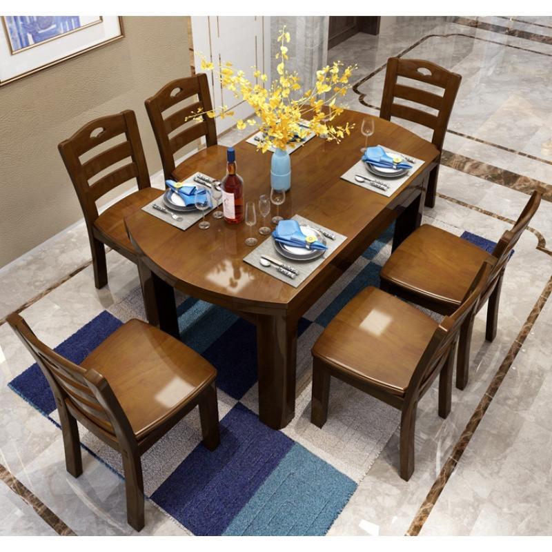 实木餐桌小圆桌吃饭桌子小户型现代简约餐厅可伸缩餐桌椅组合白色