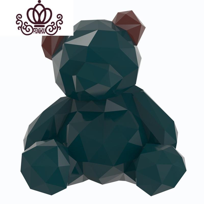 小鸡磕技《几何熊》抽象动物室内软装工艺品摆件创意艺术品雕塑
