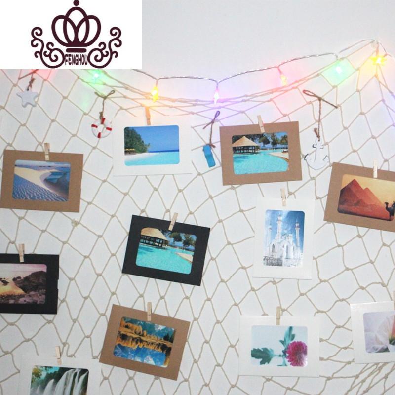 复古酒吧餐厅留言墙装饰壁饰麻绳渔网网格夹子纸相框照片墙