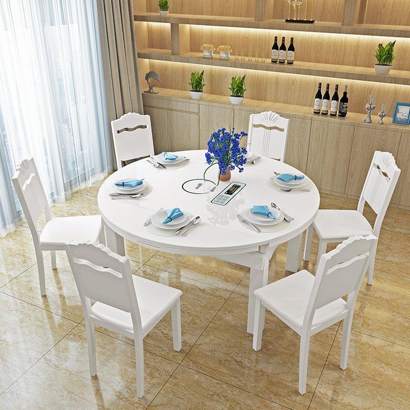 现代简约可伸缩餐桌实木折叠小户型多功能圆形餐桌椅组合带电磁炉