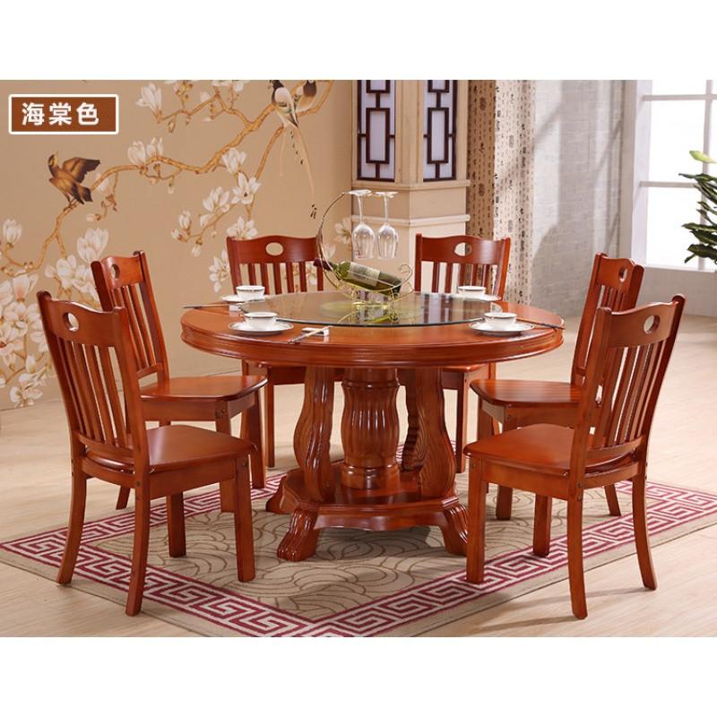 中式橡胶木大圆桌子吃饭餐桌椅组合雕花圆形餐台1.8米