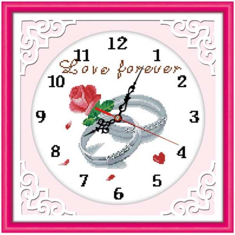 小时钟十字绣初学者简单的钟表新款客厅挂钟创意欧式线绣卧室棉线