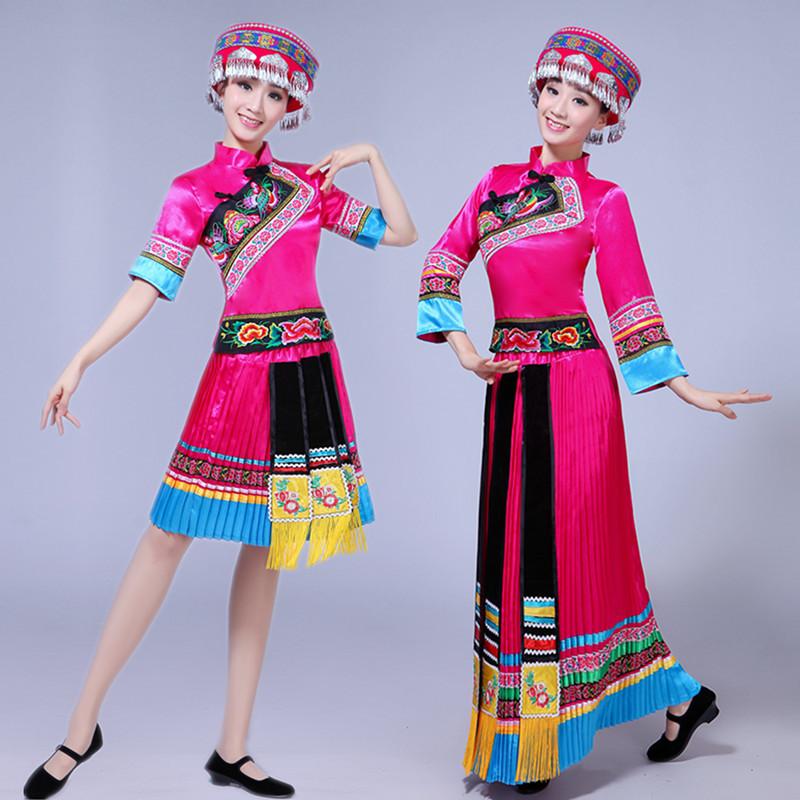 苗族演出服云南少数民族舞蹈表演服装彝族瑶族土家族成人长款女装