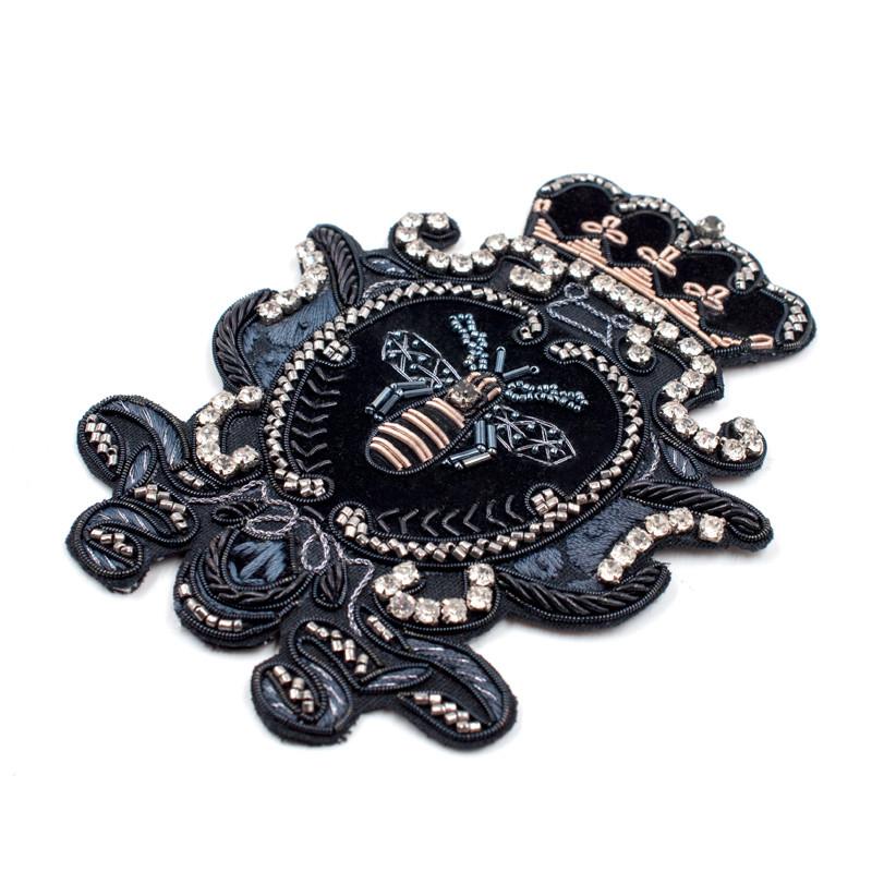 手工印度丝刺绣花边皇冠大号蜜蜂图案布贴补羽绒服的补丁贴