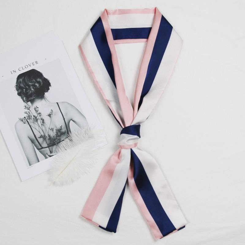 小丝巾女百搭领带领结纱巾长条围巾方巾长款细窄领巾装饰文艺