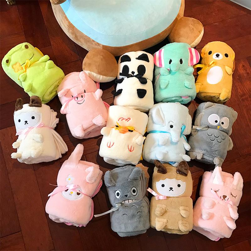 韩国可爱卡通动物毯子日系软妹办公室午睡珊瑚绒学生毛毯空调毯