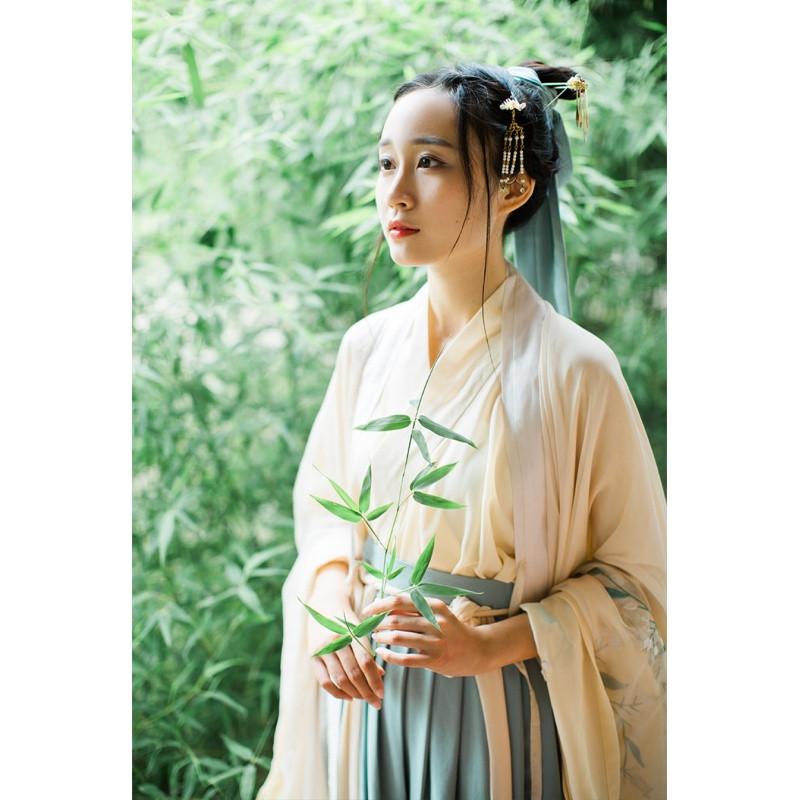 重工刺绣魏晋风复古中国风汉服文艺森系气质古装套装