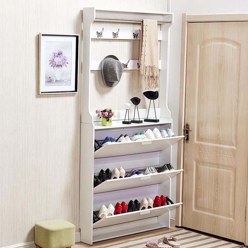 里伍简约现代翻斗鞋柜带挂衣架超薄白色门厅柜简易经济型玄关柜隔断柜