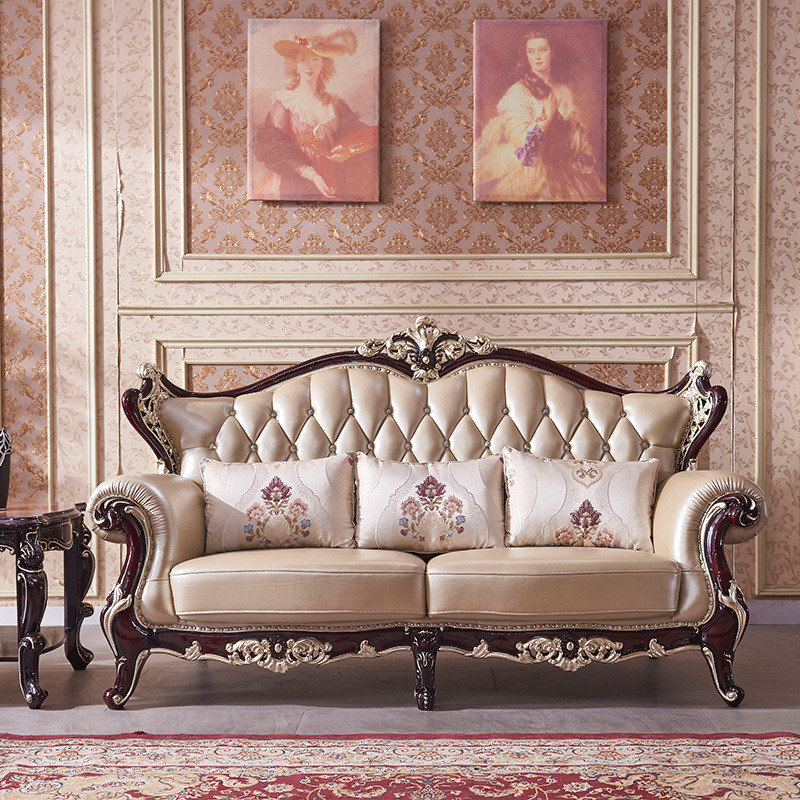 里伍 简欧真皮沙发大气头层牛皮123皮艺沙发组合客厅实木家具图片