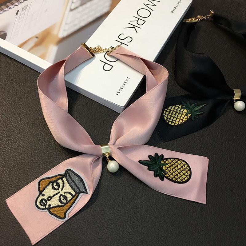 春秋韩国玫瑰刺绣气质小领巾女 韩式蝴蝶结领结 珍珠装饰围巾