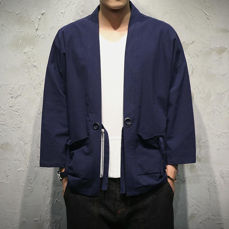 复古中国风男装夏季薄款宽松大码和风外套日系仙鹤刺绣小和服开衫