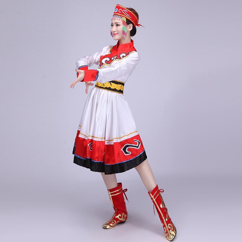 蒙古族演出服 成人舞蹈表演服装 蒙古舞蹈服女