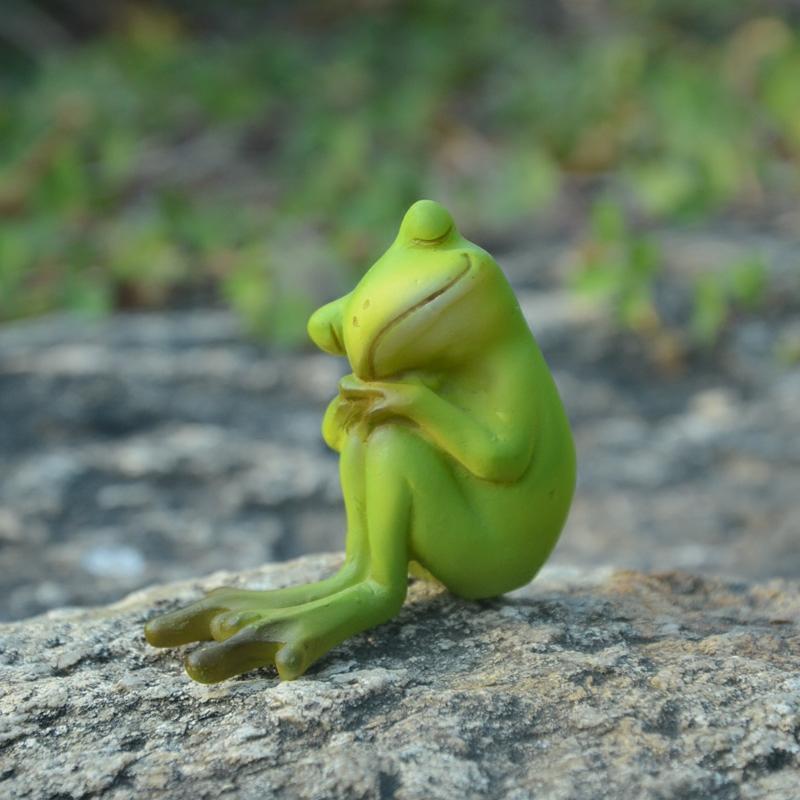 田园小青蛙树脂摆件创意微景观可爱动物家居饰品礼物送男生