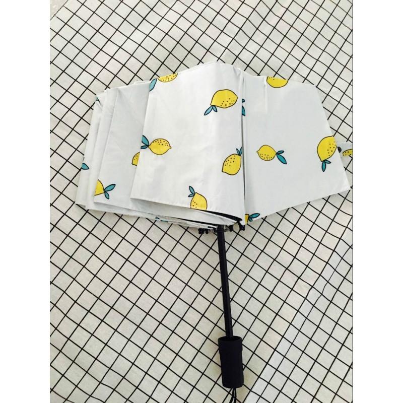 清新小香蕉小柠檬绿叶白花多色黑胶晴雨伞遮阳挡雨