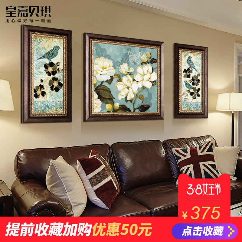 沙发背景墙装饰画 客厅挂画家居温馨壁画大气三联画美式手绘 油画