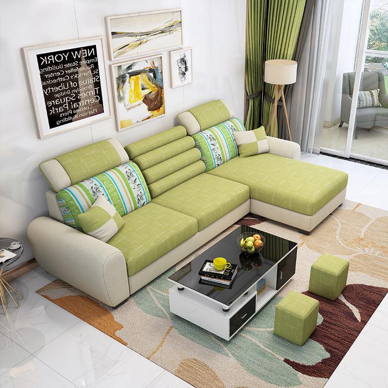 布艺沙发组合左右可拆洗三人客厅经济型小户型简约现代转角布沙发