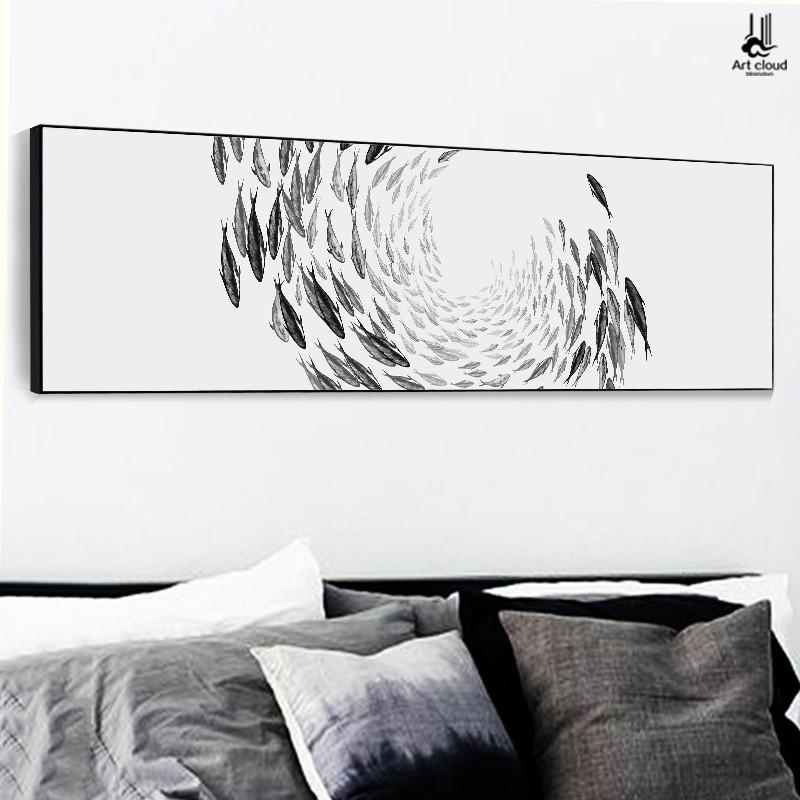 云图千鱼创意水墨卧室装饰画床头横版现代简约客厅沙发背景墙挂画