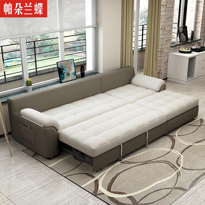 多功能储物两用布艺沙发床可折叠双人小户型推拉转角组合图片