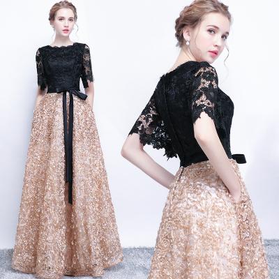 18款式晚礼服女2018新款长款时尚显瘦聚会高贵优雅宴会演出主持人礼服裙-定制款