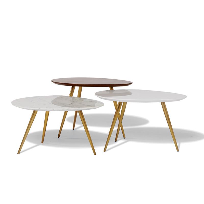 闽威北欧风格小茶几现代简约迷你异形桌子大理石面小户型客厅圆形茶几