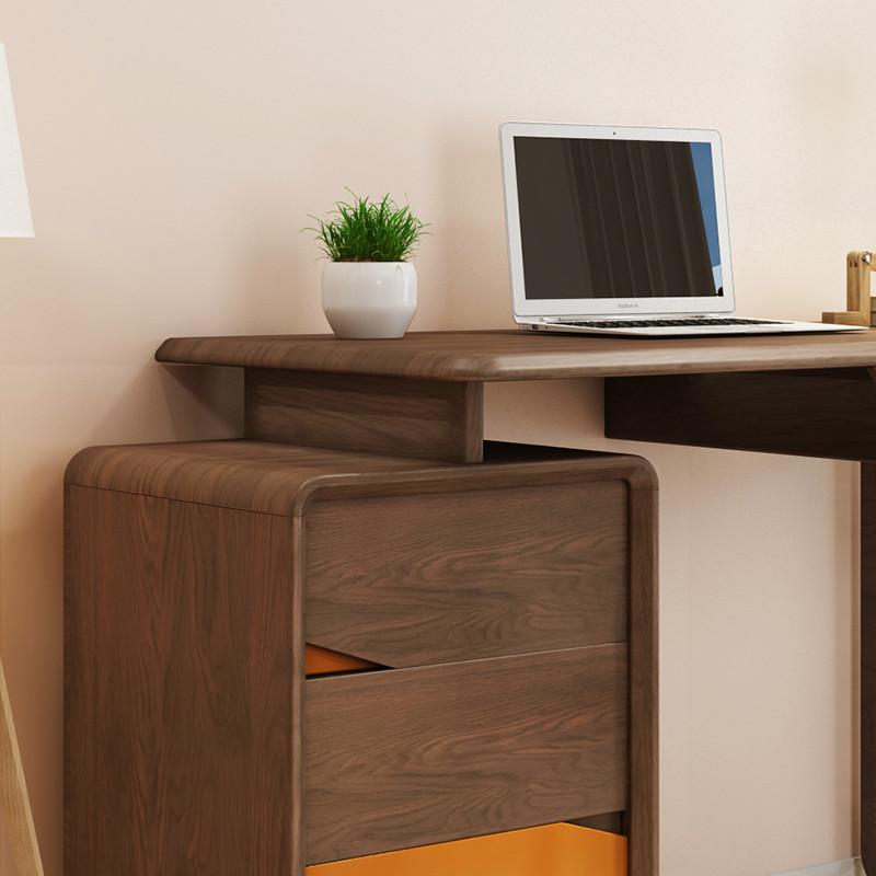 北欧家用电脑桌 简约现代书桌书柜一体 美式书台书房家具套装组合图片