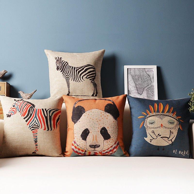 熊猫动物棉麻抱枕沙发靠枕靠背靠垫套北欧文艺汽车午睡腰枕不含芯