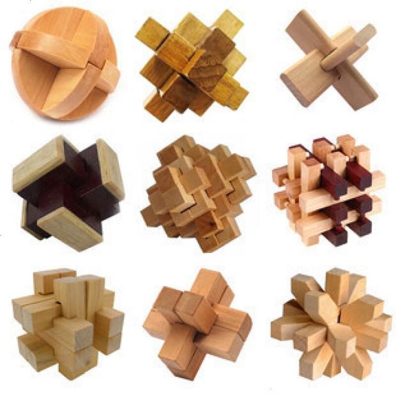 木制益智玩具/孔明锁鲁班锁系列20件套装/带图解